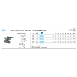 0432 2/2 In-Line Lockable Ball Valve, Female BSPP Thread