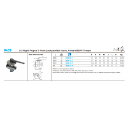 0438 3/2 Right-Angled 3-Point Lockable Ball Valve, Female BSPP Thread