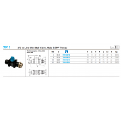 7911 2/2 In-Line Mini-Ball Valve, Male BSPP Thread