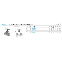 0502 In-Line Needle Valve, Female BSPP Thread