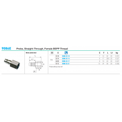 9086E Probe, Straight-Through, Female BSPP Thread