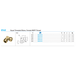 0143 Equal Threaded Elbow, Female BSPP Thread