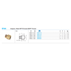 0164 Adaptor, Male NPT/Female BSPP Thread