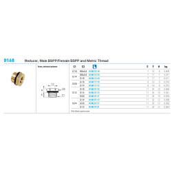 0168 Reducer, Male BSPP/Female BSPP and Metric Thread