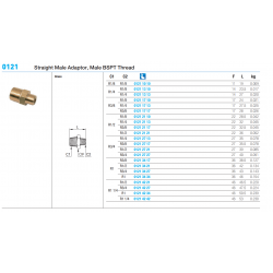 0121 Straight Male Adaptor, Male BSPT Thread