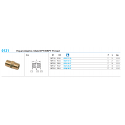 0121 Equal Adaptor, Male NPT/BSPT Thread
