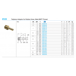 0123 Tailpiece Adaptor for Rubber Hose, Male BSPT Thread