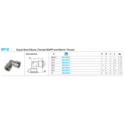 0912 Equal Stud Elbow, Female BSPP and Metric Thread