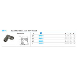 0914 Equal Stud Elbow, Male BSPT Thread
