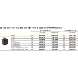 30 x 30 DIN Form A and 22 x 30 DIN Form B Coils for CNOMO Operator