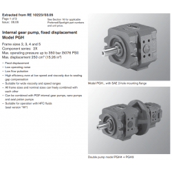 Internal gear pump, fi xed displacement Model PGH Frame sizes 2, 3, 4 and 5 Component series: 2X