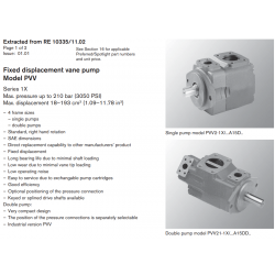 Fixed displacement vane pump Model PVV Series 1X Max. pressure up to 210 bar