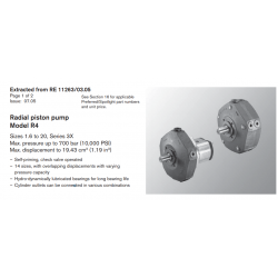 Radial piston pump Model R4 Sizes 1.6 to 20, Series 3X Max. pressure up to 700 bar (10,000 PSI) Max.