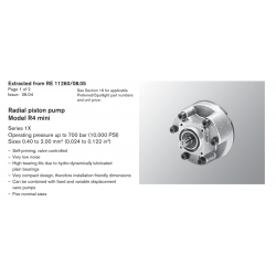 Radial piston pump Model R4 mini Series 1X Operating pressure up to 700 bar