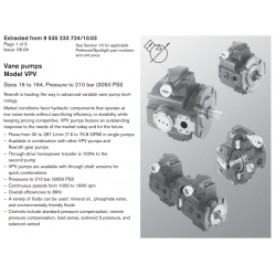Vane pumps Model VPV Sizes 16 to 164, Pressure to 210 bar (3050 PSI)