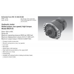 Hydraulic motor Radial piston, low speed, high torque Model MCR 03