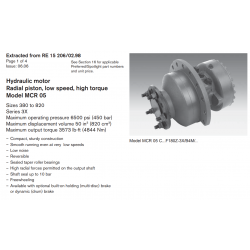 Hydraulic motor Radial piston, low speed, high torque Model MCR 05 Sizes 380 to 820 Series 3X.