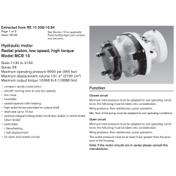 Hydraulic motor Radial piston, low speed, high torque Model MCR 15