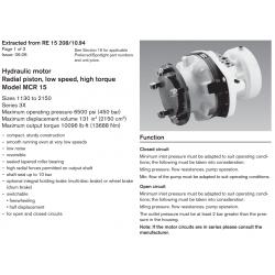 Hydraulic motor Radial piston, low speed, high torque Model MCR 15