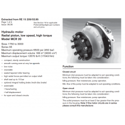Hydraulic motor Radial piston, low speed, high torque Model MCR 20 Sizes 1750 to 3000 Series 3X