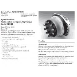 Hydraulic motor Radial piston, low speed, high torque Model MCR 20 Sizes 1750 to 3000 Series 3X