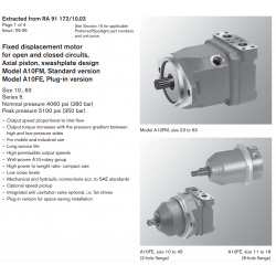 Fixed displacement motor for open and closed circuits, Axial piston, swashplate design Model A10FM