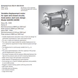 Variable displacement motor for open and closed circuits, Axial piston, bent axis design Model AA6VM (A6VM)