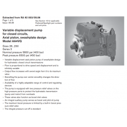Variable displacement pump for closed circuits, Axial piston, swashplate design Model AA4VG