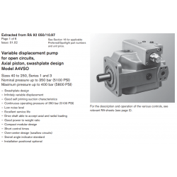 Variable displacement pump for open circuits, Axial piston, swashplate design Model A4VSO
