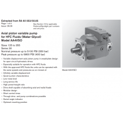 Axial piston variable pump for HFC Fluids (Water-Glycol) Model AA4VSO