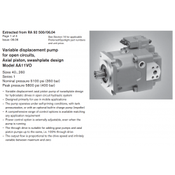 Variable displacement pump for open circuits, Axial piston, swashplate design Model AA11VO
