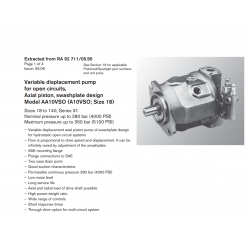 Variable displacement pump for open circuits, Axial piston, swashplate design Model AA10VSO (A10VSO, Size 18)