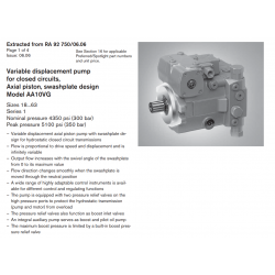 Variable displacement pump for closed circuits, Axial piston, swashplate design Model AA10VG