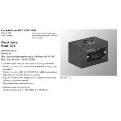 Check Valve Model Z1S Nominal size 6 Series 4X Max. operatiang pressure up to 350 bar (5076 PSI)