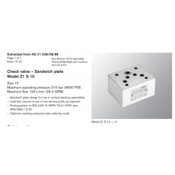 Check valve – Sandwich plate Model Z1 S 10 Size 10 Maximum operating pressure 315 bar (4600 PSI)
