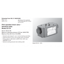 Pilot operated check valve – Sandwich plate Model Z2 S 6 Size 6, Series 6X Maximum operating pressure 315 bar (4600 PSI)