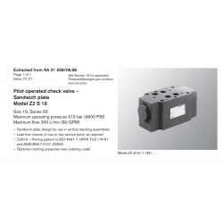 Pilot operated check valve – Sandwich plate Model Z2 S 16 Size 16, Series 5X Maximum operating pressure 315 bar (4600 PSI)