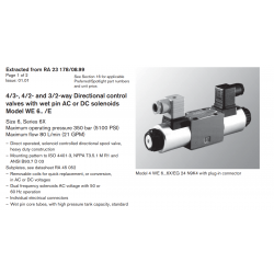 4/3-, 4/2- and 3/2-way Directional control valves with wet pin AC or DC solenoids Model WE 6.. /E