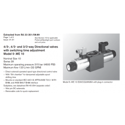 4/3-, 4/2- and 3/2-way Directional valves with switching time adjustment Model 5-.WE 10