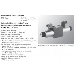 Soft switching 4/2- and 4/3-way Directional valves with DC solenoids, Model WE...73-../A12..