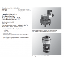 2-way Cartridge valves – Directional func tion Cartridge valves, Model LC... Control covers, Model LFA...