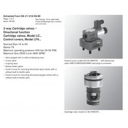 2-way Cartridge valves – Directional func tion Cartridge valves, Model LC... Control covers, Model LFA...