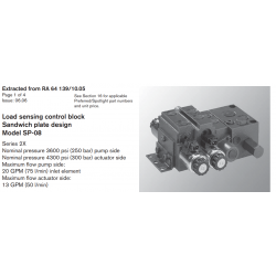 Load sensing control block Sandwich plate design Model SP-08