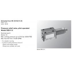 Pressure relief valve, pilot operated Model DBV 6 V