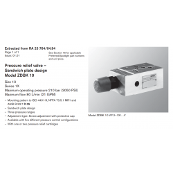 Pressure relief valve – Sandwich plate design Model ZDBK 10
