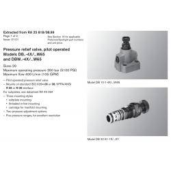 Pressure relief valve, pilot operated Models DB..-4X/...W65 and DBW..-4X/...W65