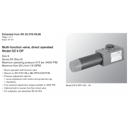 Multi-function valve, direct operated Model DZ 6 DP