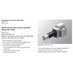 Multi-function valve, direct operated Model DZ 10 DP