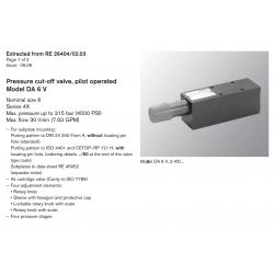 Pressure cut-off valve, pilot operated Model DA 6 V Nominal size 6 Series 4X