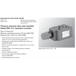 Pressure reducing valve, pilot operated Model ZDR 10 V, sandwich mounted Size 10, Series 3X